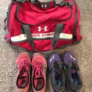 Under Armour bag and 2 pairs of Brooks shoes
